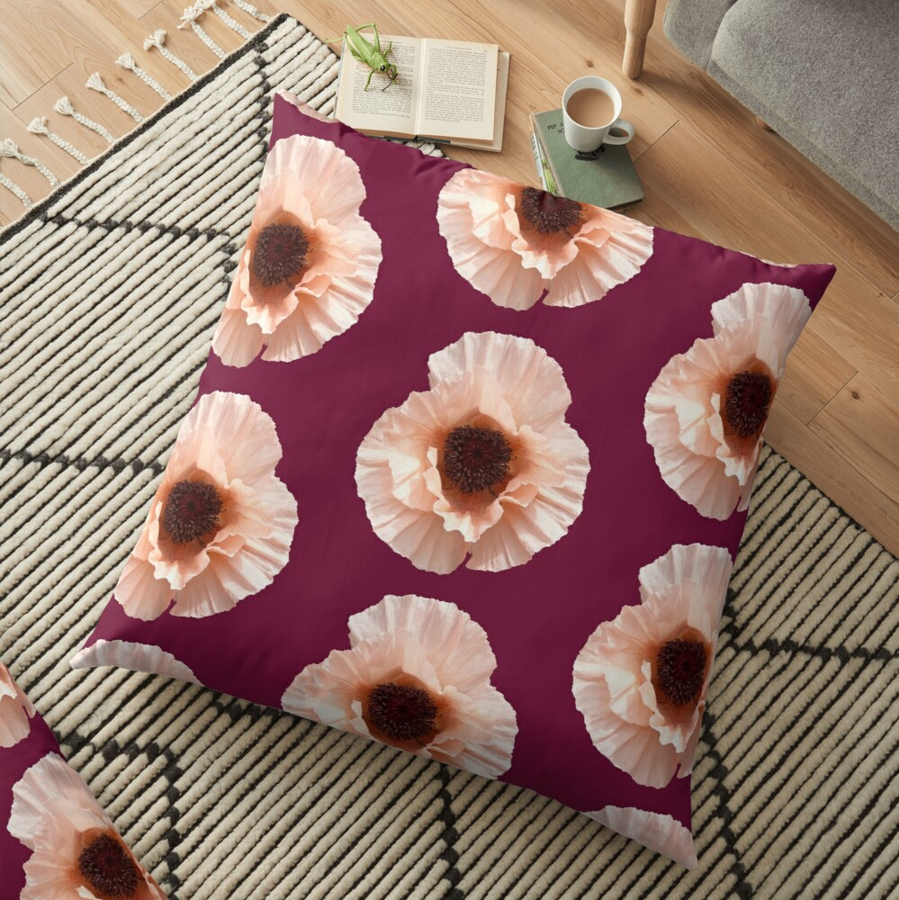 Oriental Poppy Floor Pillow