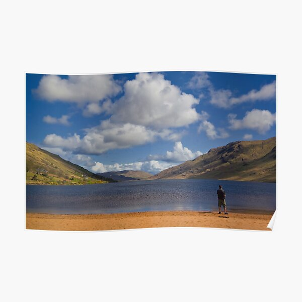 Lone Fisherman at Loch Na Fooey Galway/Mayo Ireland Poster