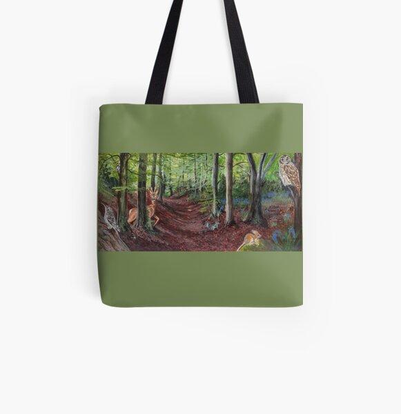 Woodland Animal Illustration All Over Print Tote Bag