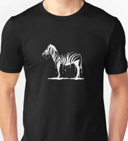 zebra melting on black T-Shirt
