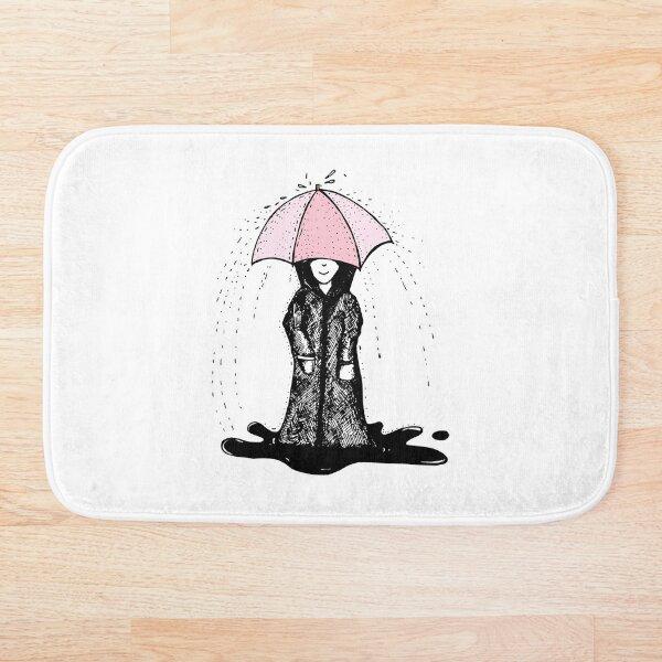 cute girl with an umbrella Bath Mat