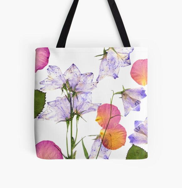 Delicate spring flowers and rose petals pressed All Over Print Tote Bag