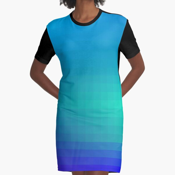 Blue Seagreen Ombre Graphic T-Shirt Dress