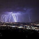 Mt Dandenong Victoria - Thunder Storm Lightning from Skyhigh October 2015 by Ben  Cadwallader