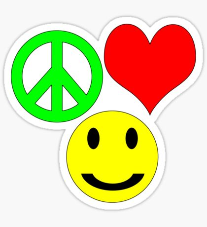 peace, love and happiness Sticker