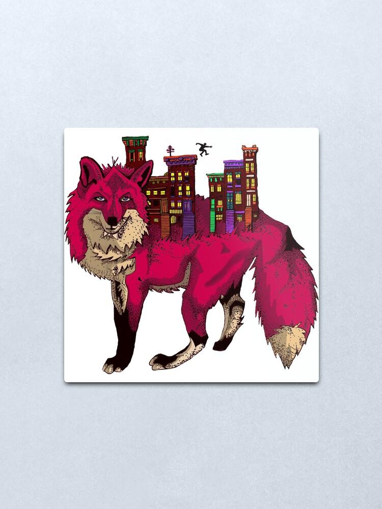 Alternate view of Brownstone Cold Fox Metal Print