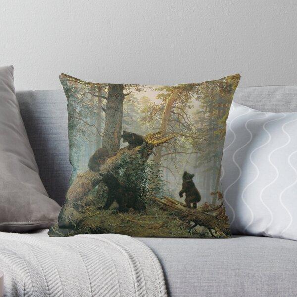 И. И. #Шишкин, К. А. Савицкий. Утро в сосновом лесу. 1889. Холст, масло. 139 × 213 см. Третьяковская галерея, Москва. #IvanShishkin #MorningInAPineForest #MorningInPineForest, Throw Pillow