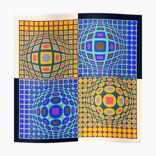 Stained Glass, Op Art. Victor #Vasarely, was a Hungarian-French #artist, who is widely accepted as a #grandfather and leader of the #OpArt movement Poster