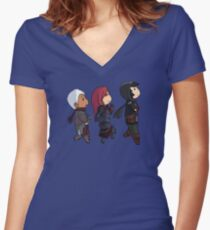 Midworld cute chibi trio Women's Fitted V-Neck T-Shirt