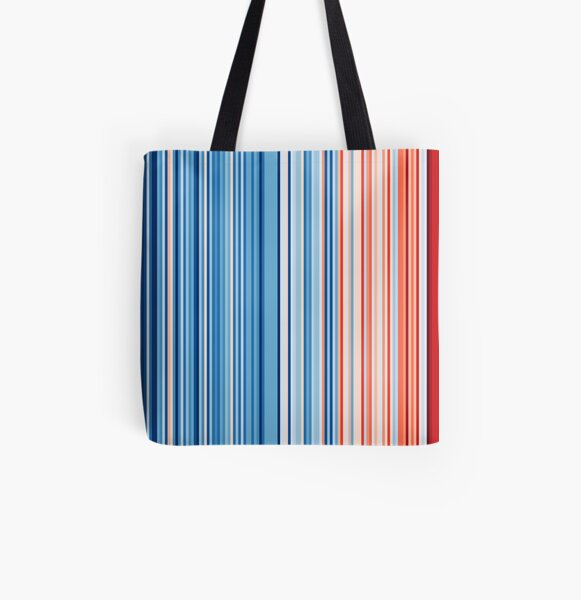 Australia Warming Stripes Climate Strike Protest Merchandise All Over Print Tote Bag