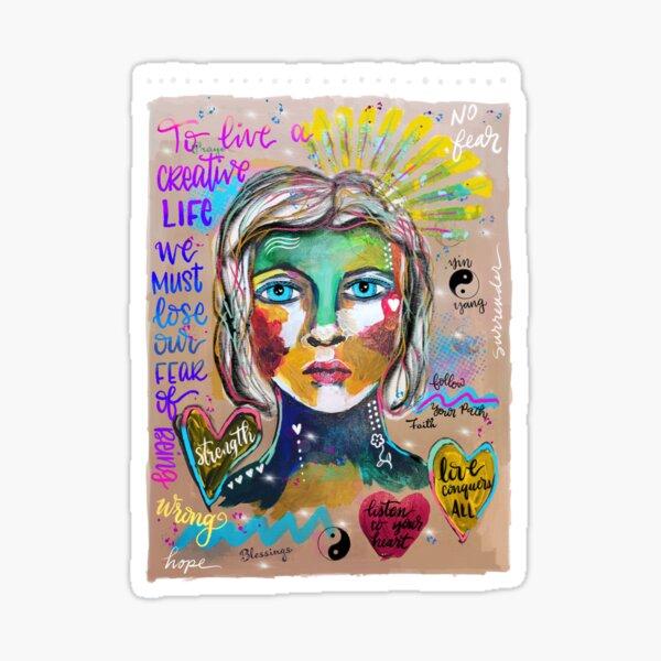 Creative Life Female Colorful Digital Artwork Sticker