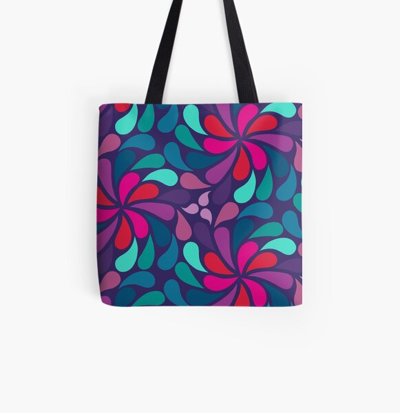 Psychedelic 70s in a Spin - teal, purple,pink All Over Print Tote Bag