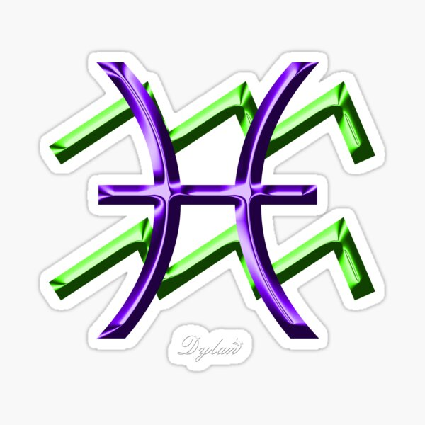 """Aquarius Pisces Cusp Zodiac Sign"""" Sticker by DylanAndDot 