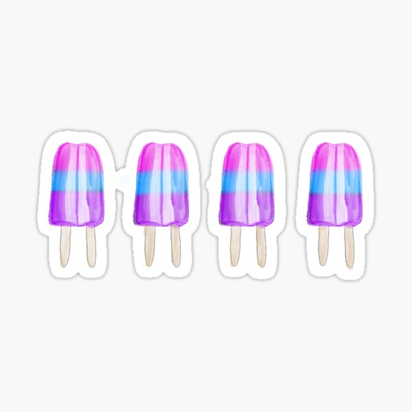 Pink Blue Purple Popsicles Sticker