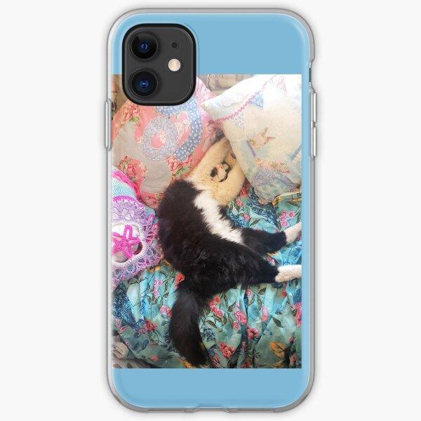 "Tuxedo Cat Funny ""Let Me Sleep!"" Cute Sleeping Upside-Down iPhone Soft Case"