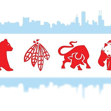 Chicago Flags with Teams and Skyline by kwald12