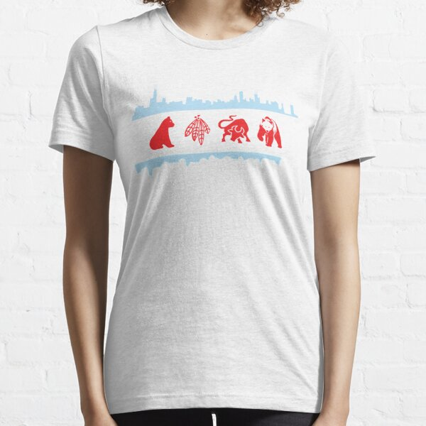Chicago Flags with Teams and Skyline Essential T-Shirt