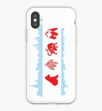Vinilo o funda para iPhone Bandera de Chicago con Skyline y equipos