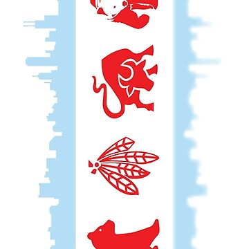 Chicago Flag with Skyline and Teams by kwald12