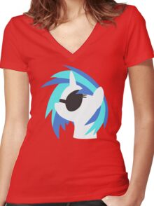 Vinyl Scratch sillhouette 2  (No boarder) Women's Fitted V-Neck T-Shirt