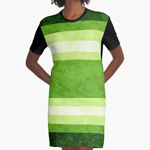 Grunge Stripes - Green Graphic T-Shirt Dress