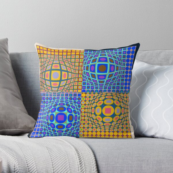 Stained Glass, Op Art. Victor #Vasarely, was a Hungarian-French #artist, who is widely accepted as a #grandfather and leader of the #OpArt movement Throw Pillow