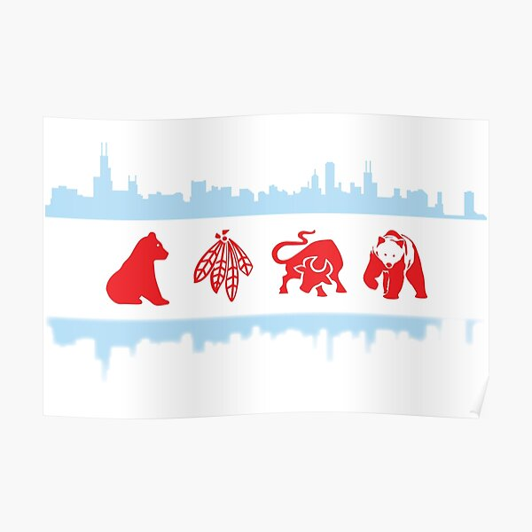 Chicago Flag with Logos and Skyline Poster Poster