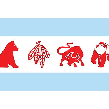 Chicago Flag with Logos Poster by kwald12