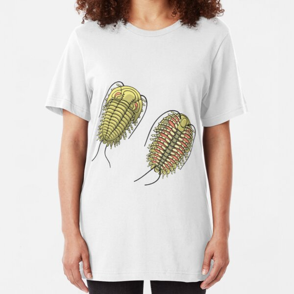 Colored Trilobite Illustration Slim Fit T-Shirt