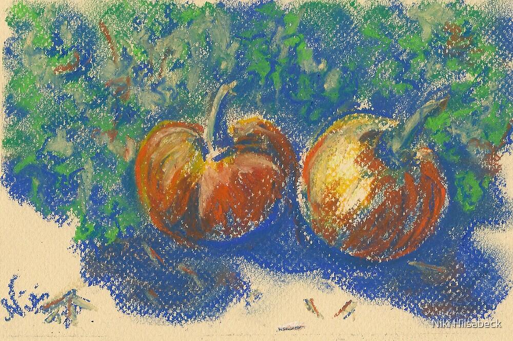Pumpkin Pair (pastel) by Niki Hilsabeck