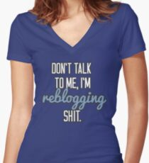 Reblogging Women's Fitted V-Neck T-Shirt