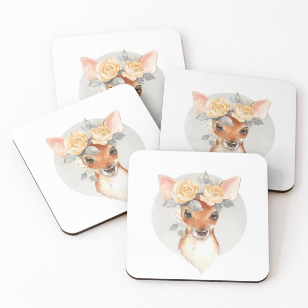Fawn with yellow roses Coasters (Set of 4)