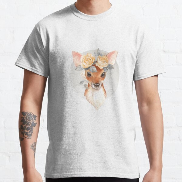 Fawn with yellow roses Classic T-Shirt