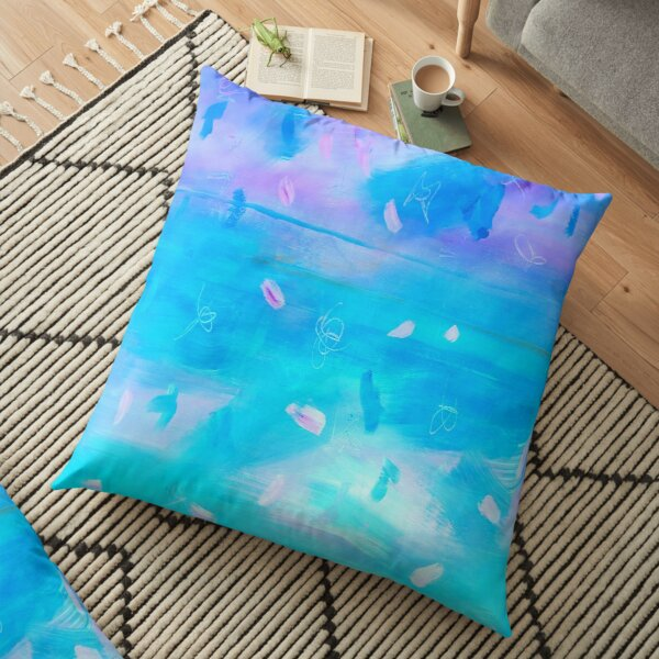 Abstract Blue Painting 1 Floor Pillow