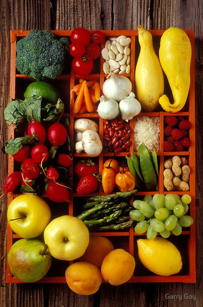 Fruits and vegetables in compartments by Garry Gay