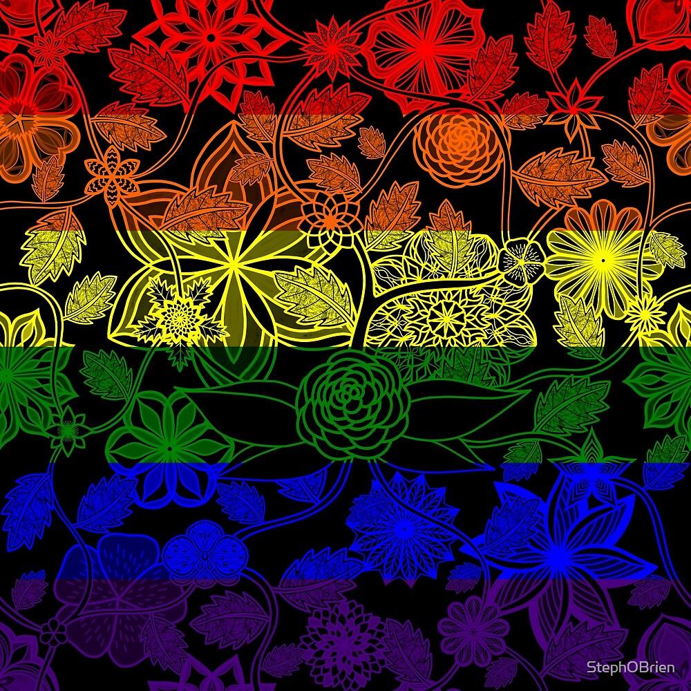 Flight Over Flowers of Fantasy - LGBTQ Pride Flag by StephOBrien