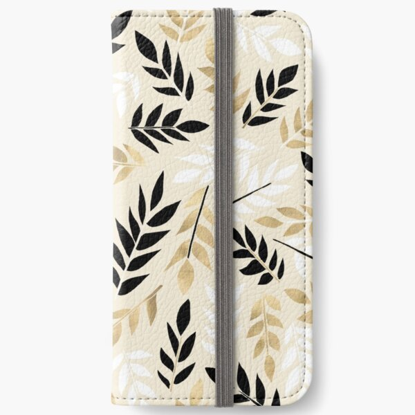 Black, White & Gold Fronds iPhone Wallet