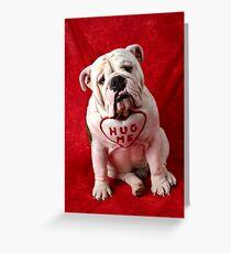 English Bulldog puppy hug me Greeting Card