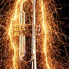 Trumpet outlined with sparks by Garry Gay
