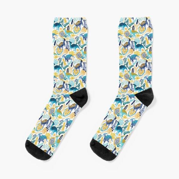 Gouache Parasaurolophuses  Socks