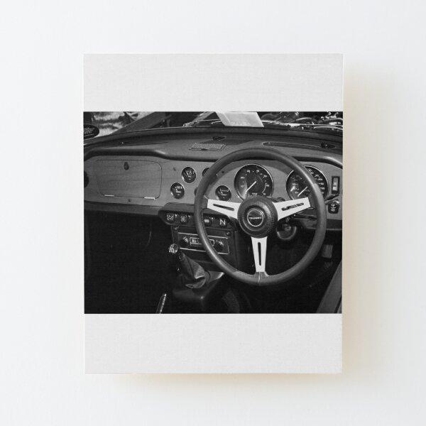 Classic Triumph TR6 Sports Car Interior Wood Mounted Print