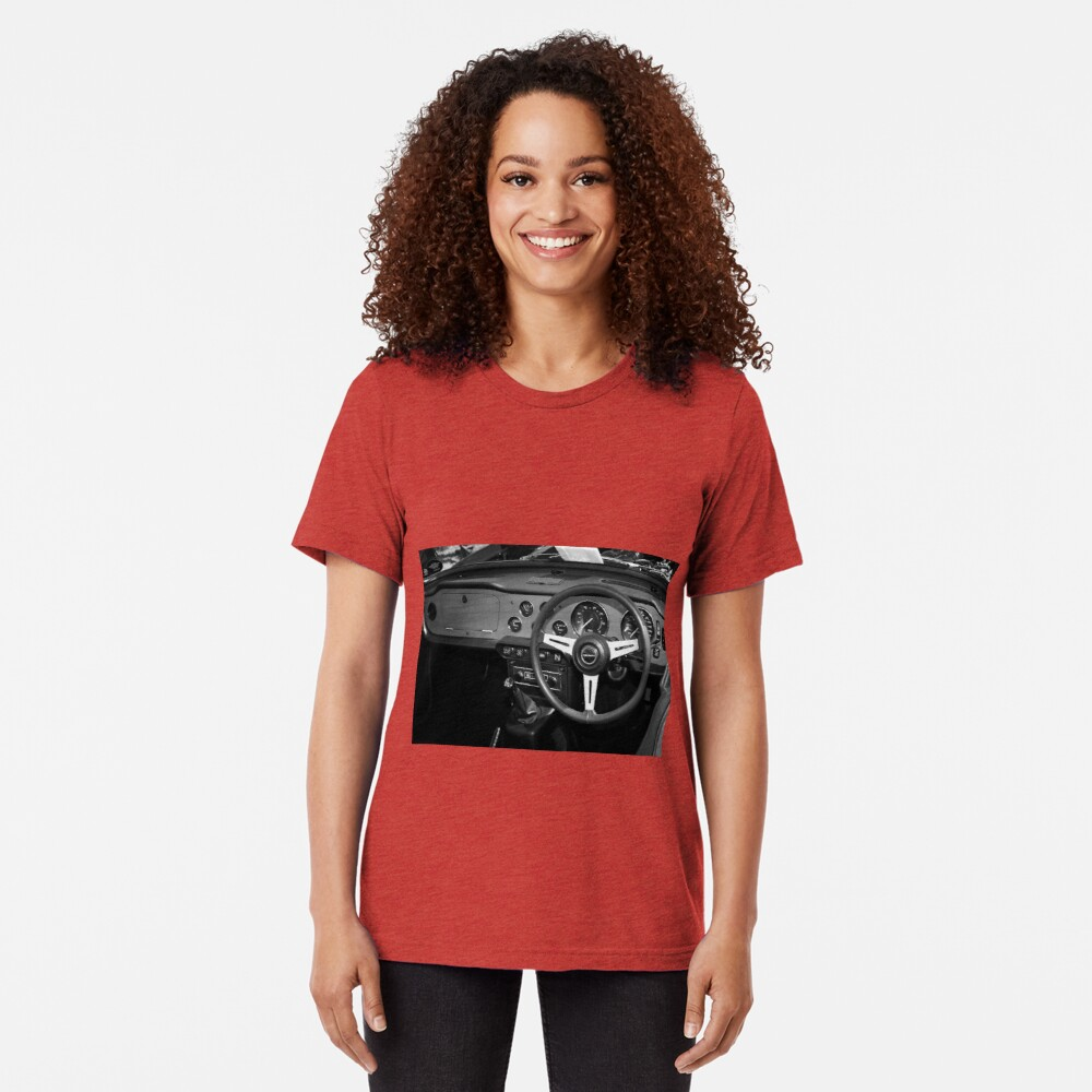 Classic Triumph TR6 Sports Car Interior Tri-blend T-Shirt