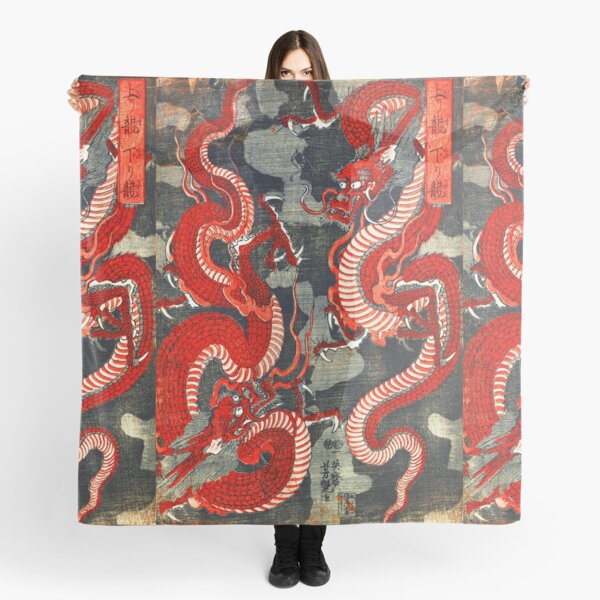 TWO DRAGONS JAPANESE WOODCUT IN RED BLACK WHITE Scarf