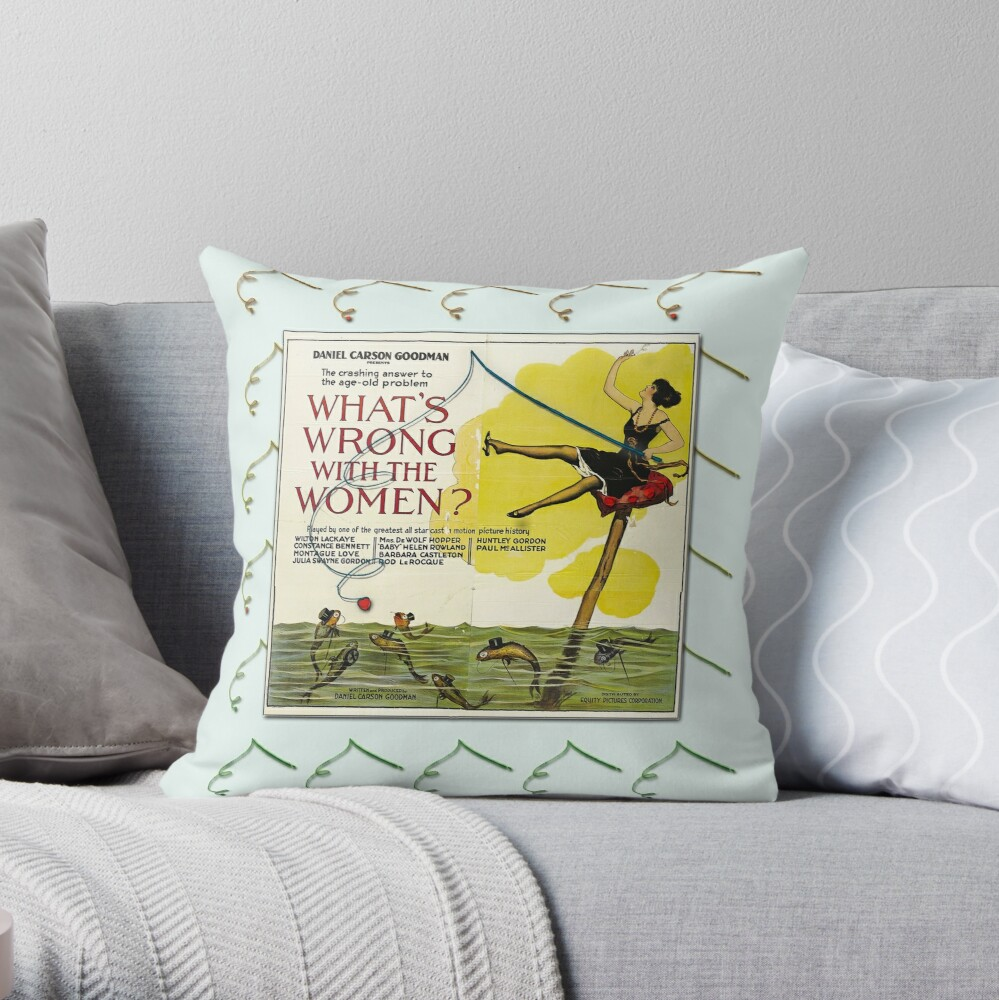 Vintage Fun Flapper Fishing Design Featuring 'What's Wrong With The Women?' Throw Pillow