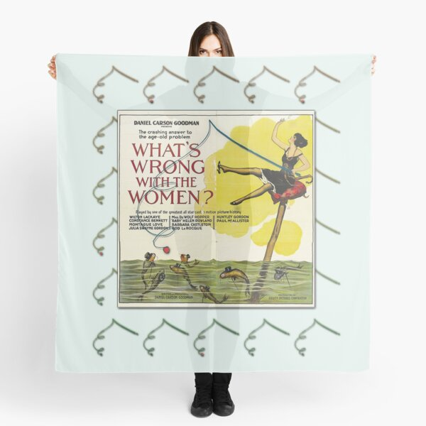 Vintage Fun Flapper Fishing Design Featuring 'What's Wrong With The Women?' Scarf