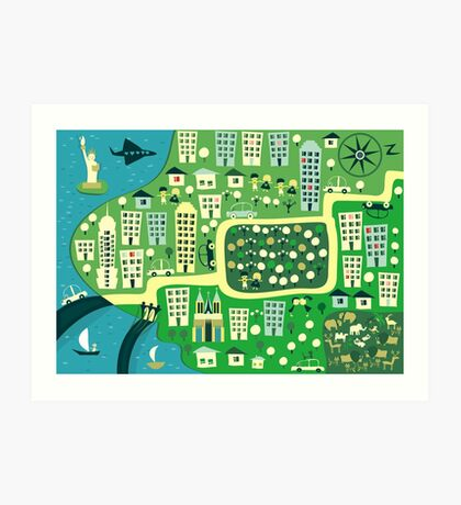 Cartoon Map of New York Art Print