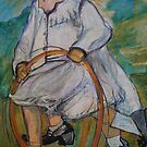 Skipping Girl, Conte drawing by Lozzar Flowers & Art