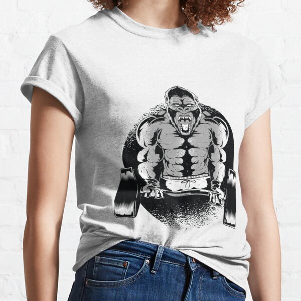 BEAST MODE GORILLA LADIES T SHIRT WORKOUT CROSSFIT EXERCISE WEIGHTLIFTING ARNIE