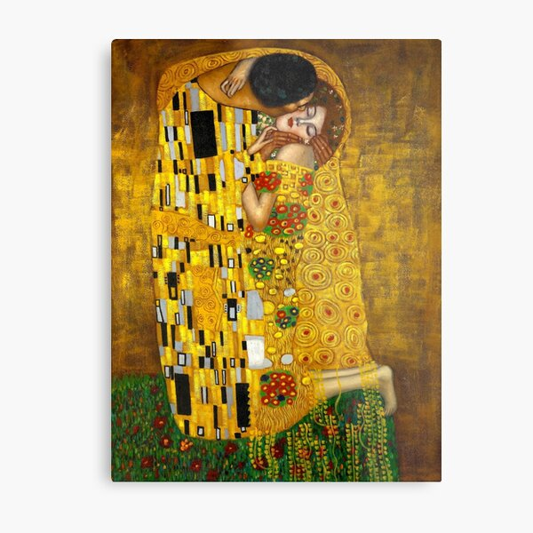 Gustav Klimt Artwork The Kiss Metal Print