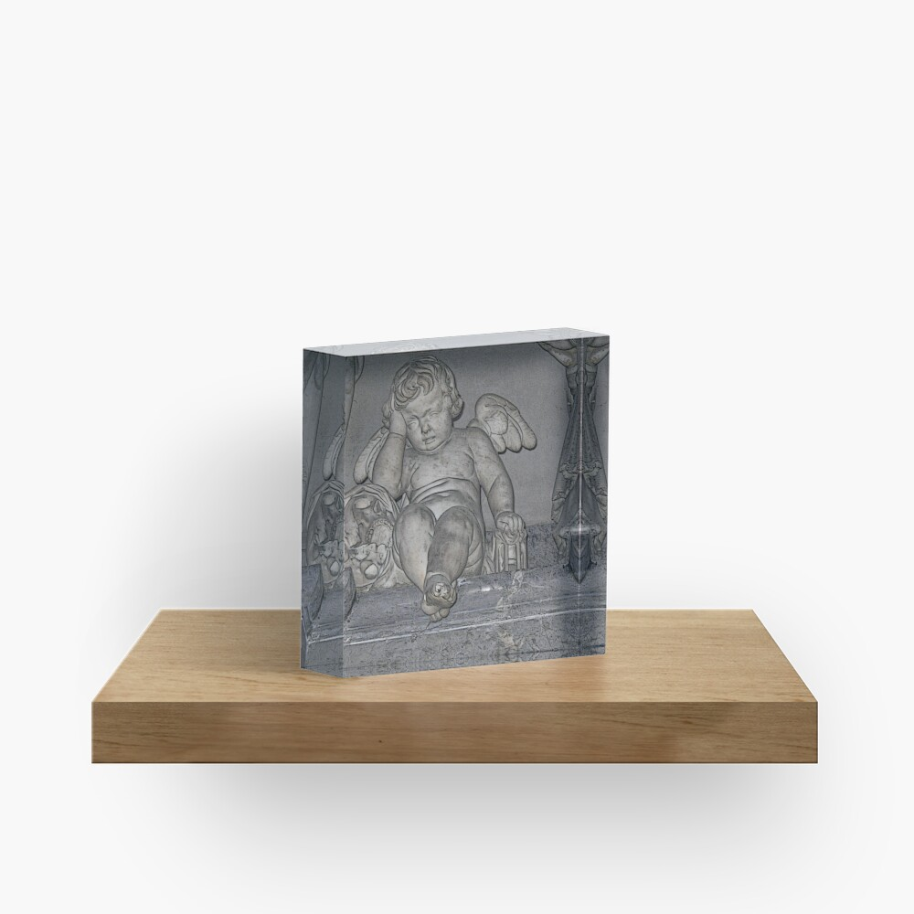France. Amiens. Amiens Cathedral. Weeping Angel. Acrylic Block